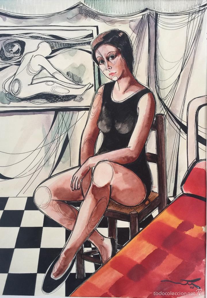 AGUSTÍ OLTRÀ , DIBUJO A TINTA , FIEL A SU ESTILO (Arte - Dibujos - Contemporáneos siglo XX)