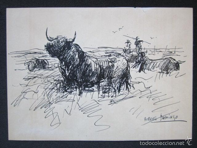ROBERTO DOMINGO - DIBUJO ORIGINAL, FIRMADO. TOROS, TAUROMAQUIA. 21,7 X 15,5 CM (Arte - Dibujos - Contemporáneos siglo XX)