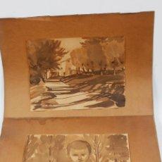 Arte: DARÍO VILÁS (1880-1950) CAMPRODÓN AÑO 1927, 2 ACUARELAS 19X24CM. SOPORTE: 30X38CM. Lote 58258575