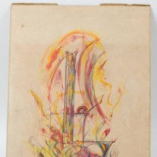Arte: DIBUJO SOBRE CARTÓN FIRMA ILEGIBLE, 1977. 24X34 CM.. Lote 58258824