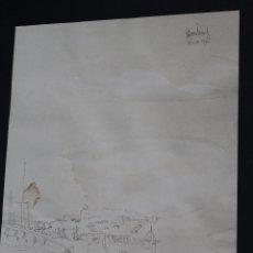 Arte: B- 305. DIBUJO BOLIGRAFO SOBRE PAPEL, EIVISSA. 1976. FIRMADO RAMON JESÚS. S.XX.. Lote 58321041