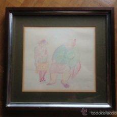 Arte: DIBUJO COLOR FIRMADO EMILIA CASTAÑEDA, ENMARCADO. Lote 50720540