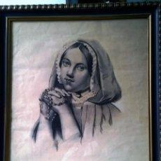 Arte: RETRATO AL CARBONCILLO ORIGINAL ENMARCADO DE ÉPOCA. Lote 58419741