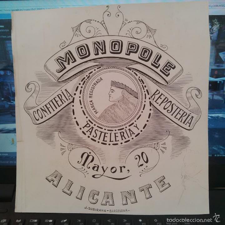 DIBUJO ORIGINAL PUBLICIDAD ALICANTE MONOPOLE FINALES SIGLO XIX O PRINCIPIOS SIGLO XX (Arte - Dibujos - Modernos siglo XIX)