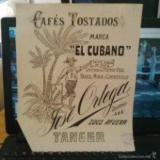 Arte: DIBUJO ORIGINAL PUBLICIDAD TANGER CAFE EL CUBANO JOSE ORTEGA FINALES SIGLO XIX O PRINCIPIOS SIGLO XX. Lote 58440791