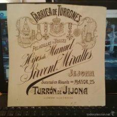 Arte: DIBUJO ORIGINAL PUBLICIDAD JIJONA ALICANTE TURRONES SIRVENT MIRALLES FINALES SIGLO XIX O PRINCIPIOS . Lote 58440835