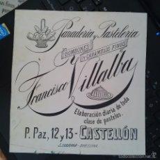Arte: DIBUJO ORIGINAL PUBLICIDAD CASTELLON DE LA PLANA FINALES SIGLO XIX O PRINCIPIOS SIGLO XX . Lote 58441062