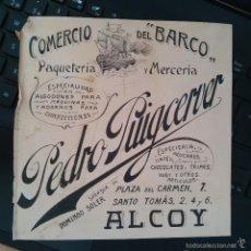 Arte: DIBUJO ORIGINAL PUBLICIDAD ALCOY ALICANTE FINALES SIGLO XIX O PRINCIPIOS SIGLO XX . Lote 58441109