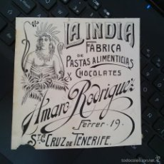 Arte: DIBUJO ORIGINAL PUBLICIDAD CHOCOLATES LA INDIA SANTA CRUZ DE TENERIFE FINALES SIGLO XIX O PRINCIPIO. Lote 58441127