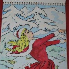 Arte: CUADERNO CON 17 DIBUJOS DE PETRA AGUERO LUIS - PERSONAJES FEMENINOS - ACUARELA - GOUACHE. Lote 58452564