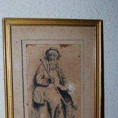 Arte: DIBUJO ORIGINAL A PLUMILLA - C. SENEN - PERSONAJE MASCULINO - PASTOR - VAGABUNDO - MEDIADOS S.XIX. Lote 58452713