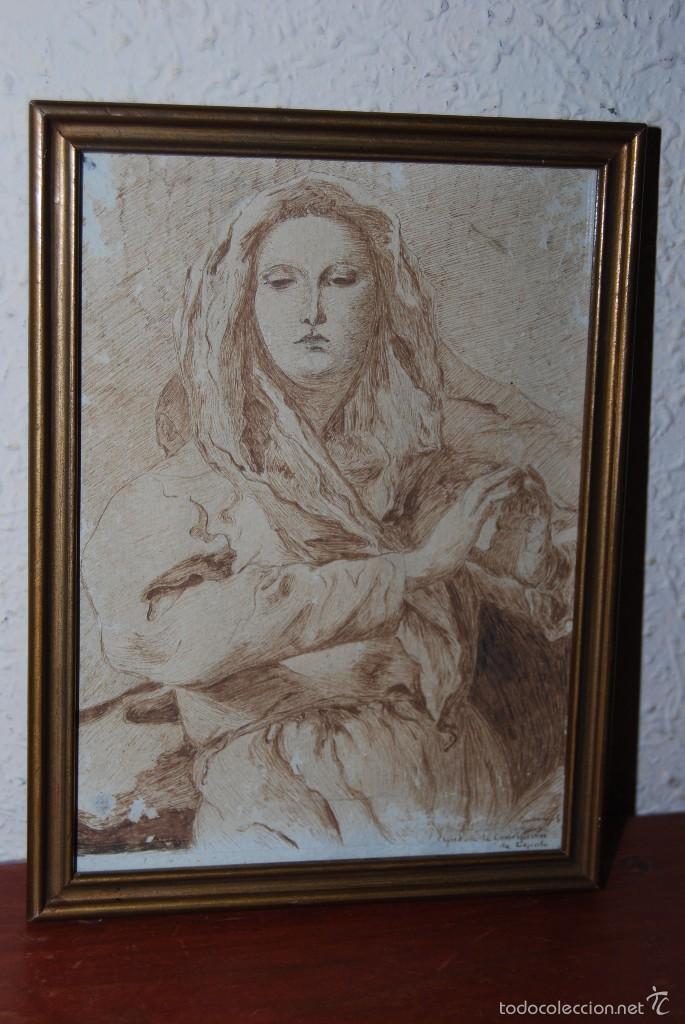 DIBUJO ORIGINAL A PLUMILLA - COPIA DE LA CONCEPCIÓN DE TIEPOLO - GUILLERMO G. - MEDIADOS SIGLO XIX (Arte - Dibujos - Modernos siglo XIX)