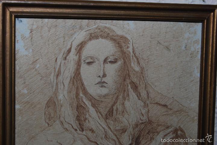 Arte: DIBUJO ORIGINAL A PLUMILLA - COPIA DE LA CONCEPCIÓN DE TIEPOLO - GUILLERMO G. - MEDIADOS SIGLO XIX - Foto 2 - 58452824