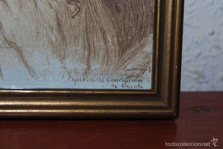 Arte: DIBUJO ORIGINAL A PLUMILLA - COPIA DE LA CONCEPCIÓN DE TIEPOLO - GUILLERMO G. - MEDIADOS SIGLO XIX - Foto 4 - 58452824