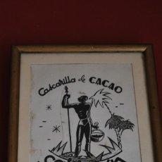 Arte: DIBUJO ORIGINAL - BOCETO PUBLICIDAD CASCARILLA DE CACAO CALDERÓN - SANTANDER - CAFÉ - AÑOS 20-30. Lote 58507857