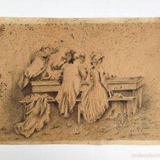 Arte: DIBUJO ORIGINAL ESCENA GALANTE - PLUMILLA - PRINCIPIOS S. XX - FIRMADO. Lote 58524622