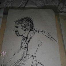 Arte: CURIOSO DIBUJO ANTIGUO FIRMADO ILEGIBLE PROCEDE ALICANTE RETRATO MASCULINO VER FOTOS . Lote 35912145