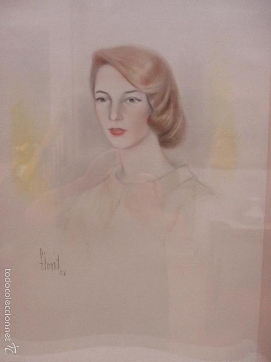 BONITO DIBUJO - ENMARCADO Y CON CRISTAL - FIGURA - FIRMA FLORIT - AÑO 58 (Arte - Dibujos - Contemporáneos siglo XX)