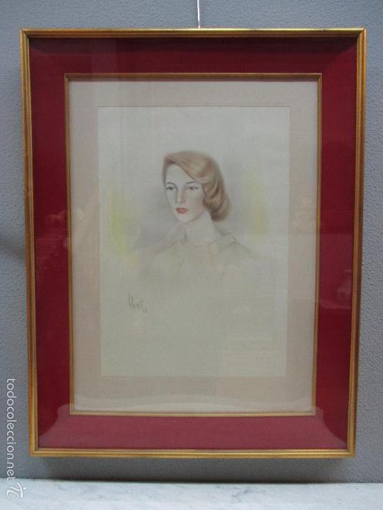 Arte: Bonito Dibujo - Enmarcado y con Cristal - Figura - Firma Florit - Año 58 - Foto 2 - 59479504