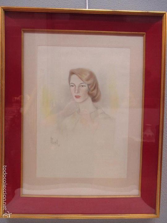 Arte: Bonito Dibujo - Enmarcado y con Cristal - Figura - Firma Florit - Año 58 - Foto 3 - 59479504