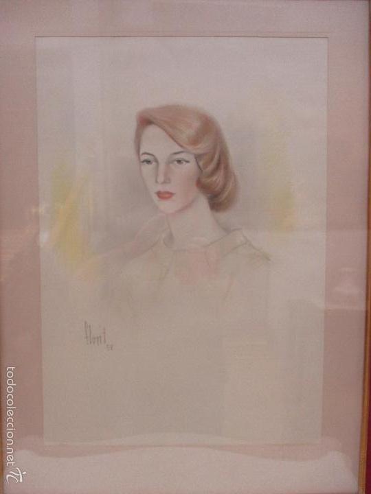 Arte: Bonito Dibujo - Enmarcado y con Cristal - Figura - Firma Florit - Año 58 - Foto 4 - 59479504