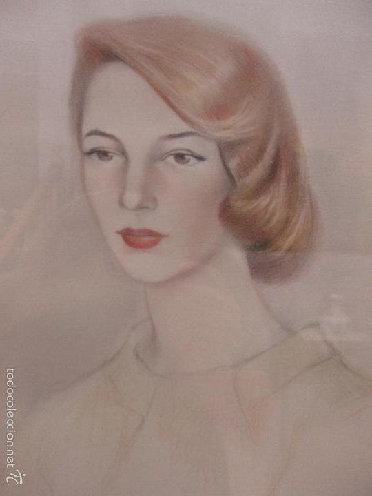 Arte: Bonito Dibujo - Enmarcado y con Cristal - Figura - Firma Florit - Año 58 - Foto 5 - 59479504