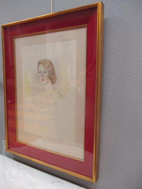 Arte: Bonito Dibujo - Enmarcado y con Cristal - Figura - Firma Florit - Año 58 - Foto 8 - 59479504