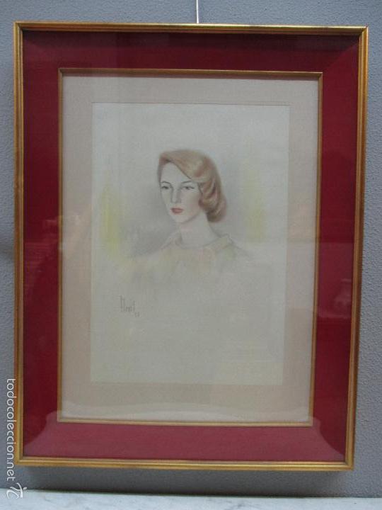 Arte: Bonito Dibujo - Enmarcado y con Cristal - Figura - Firma Florit - Año 58 - Foto 12 - 59479504