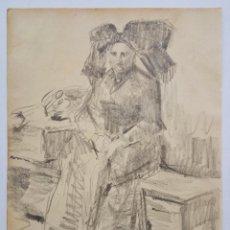 Arte: EXCELENTE RETRATO ORIGINAL A CARBONCILLO DE FINALES DEL XIX, GRAN CALIDAD. Lote 59507863