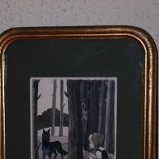Arte: DIBUJO A TINTA Y ACUARELA - CAPERUCITA ROJA Y EL LOBO - ILUSTRACIÓN EDICIÓN DE MONTANER I SIMON. Lote 59636227