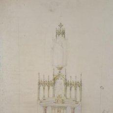 Art: DI-080. BOCETO DE ALTAR. DIBUJO AL CARBON. ARQUITECTOS RIUS. CIRCA 1940.. Lote 60029435