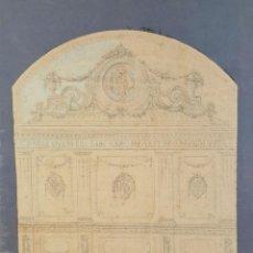 Arte: DI-084. BOCETO DE MURAL. DIBUJO AL CARBON Y PASTEL. ARQUITECTOS RIUS. CIRCA 1940.. Lote 60057523