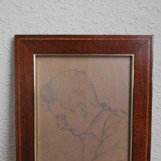 Arte: DIBUJO ORIGINAL A LÁPIZ DE JUAN GUILLERMO RODRÍGUEZ BÁEZ - RETRATO MASCULINO - PINTOR CANARIO. Lote 121322455