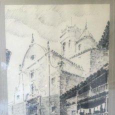 Arte: DIBUJO A TINTA DE LA IGLESIA DE RUPIT FIRMADO J.M.SERRA 1961.. Lote 60152259