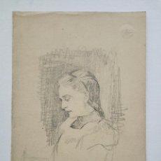 Arte: MARAVILLOSO RETRATO ORIGINAL ART NOVEAU, CARBONCILLO, FIRMADO G.H. Y TITULADO LOUISE. Lote 60254247