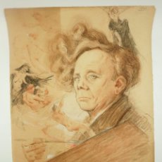 Arte: GASTON HOFFMANN (1883-?) RETRATO DEL ARTISTA DANIEL SABATER, 1942. 48X63CM. LAPIZ SOBRE PAPEL. Lote 60362847