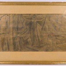 Arte: ENRIC MONJO (1896-1976) ESTUDIO DE FIGURAS, PROYECTO. MIXTA SOBRE PAPEL 25X48CM.. Lote 60774263