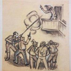 Arte: EXCELENTE CARBONCILLO ORIGINAL, FINALES DEL SIGLO XIX, ESCENA CÓMICA, TODOS CONTRA LA BRUJA!,CALIDAD. Lote 61820520