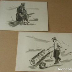 Arte: LOTE DE 2 DIBUJOS FIRMADOS. Lote 62326624