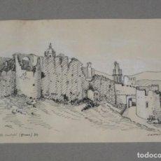 Arte: DIBUJO A LA PLUMA Y TOQUES DE CLARIÓN DE GERONA, PASEO ARQUEOLÓGICO 1934 DE ANTONI COMERMA CON MARCO. Lote 62416220