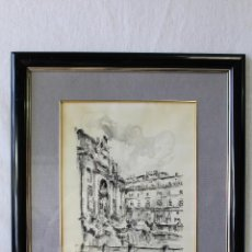 Arte: LA FONTANA DE TREVI DIBUJO ACUARELA TINTA ORIGINAL FIRMADO. Lote 62791388