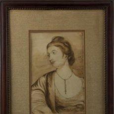 Arte: RETRATO DE SEÑORA - S.XVIII - LÁPIZ Y ACUARELA. Lote 62869696
