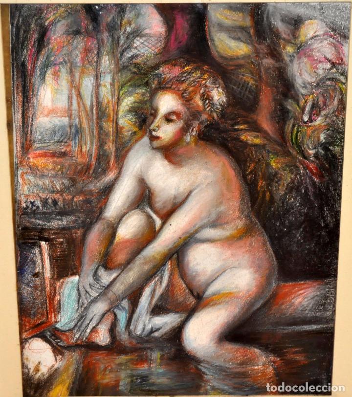 Arte: ESCUELA ESPAÑOLA DE MEDIADOS DEL SIGLO XX. DIBUJO A PASTEL. DESNUDO FEMENINO - Foto 2 - 63179824