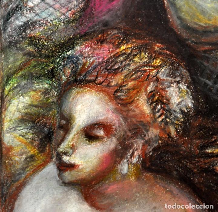Arte: ESCUELA ESPAÑOLA DE MEDIADOS DEL SIGLO XX. DIBUJO A PASTEL. DESNUDO FEMENINO - Foto 3 - 63179824