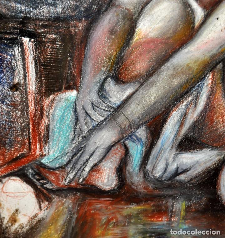 Arte: ESCUELA ESPAÑOLA DE MEDIADOS DEL SIGLO XX. DIBUJO A PASTEL. DESNUDO FEMENINO - Foto 5 - 63179824
