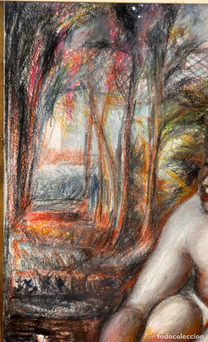 Arte: ESCUELA ESPAÑOLA DE MEDIADOS DEL SIGLO XX. DIBUJO A PASTEL. DESNUDO FEMENINO - Foto 7 - 63179824