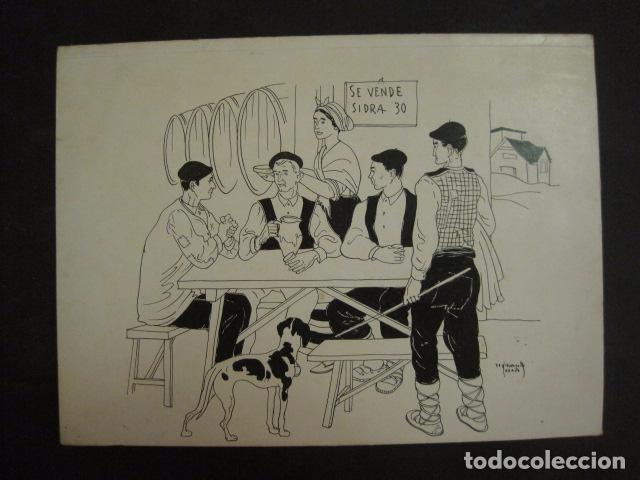 ASTURIAS -DIBUJO A PLUMA ORIGINAL - FERNANDO COLLADO - (V-6768) (Arte - Dibujos - Contemporáneos siglo XX)