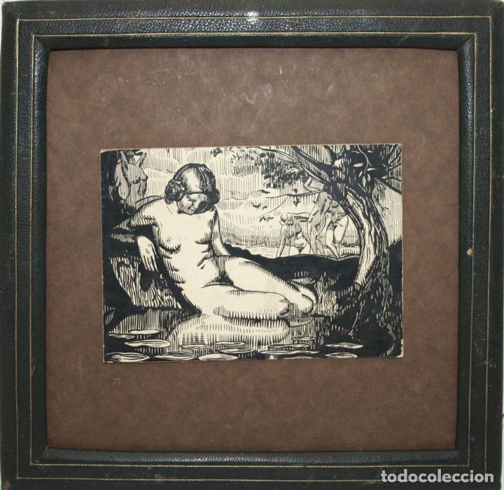 O1-037. NINFA BAÑÁNDOSE. DIBUJO A TINTA CHINA. ESTILO ART DÉCO. CIRCA 1920 (Arte - Dibujos - Contemporáneos siglo XX)