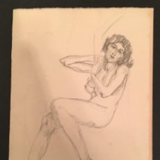Arte: 1919 ISMAEL SMITH - DIBUJO ORIGINAL - FIRMADO - ERÓTICA - MUJER DESNUDA. Lote 63561532