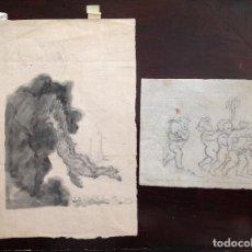 Arte: PAR DE DIBUJOS A LÁPIZ . MUY ANTIGUOS . Lote 63639939